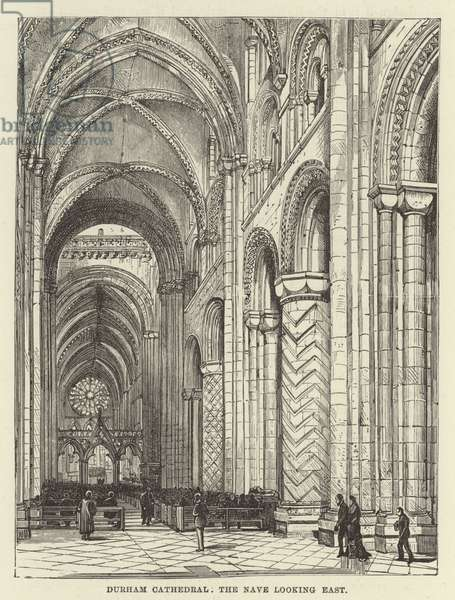 Durham Cathedral, the nave looking east (engraving)