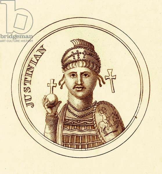 Justinian, illustration from 'The Universal Historical Dictionary' by George Crabb, published 1825 (digitally enhanced image)