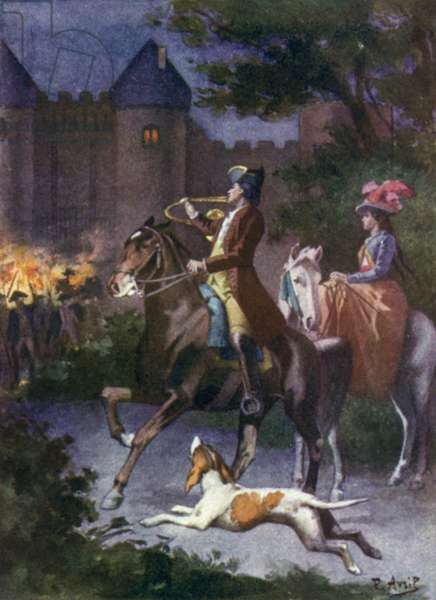 In the twinkling of an eye all the Mauprats were at the portcullis. Illustration for Mauprat by George Sand (colour litho)