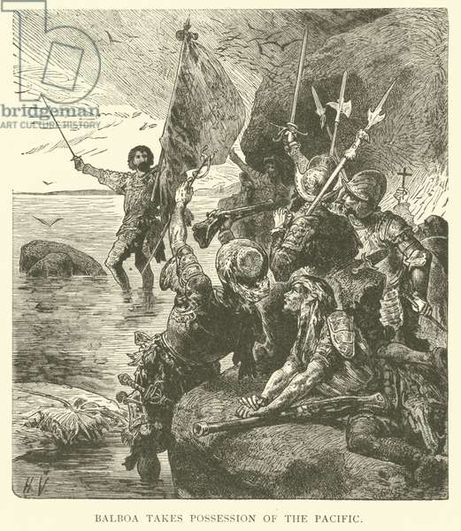 Balboa takes possession of the Pacific Ocean (engraving)