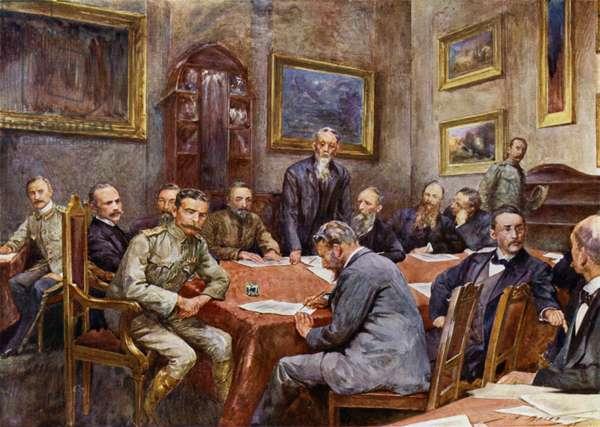 Signing the treaty of peace at Pretoria (colour litho)