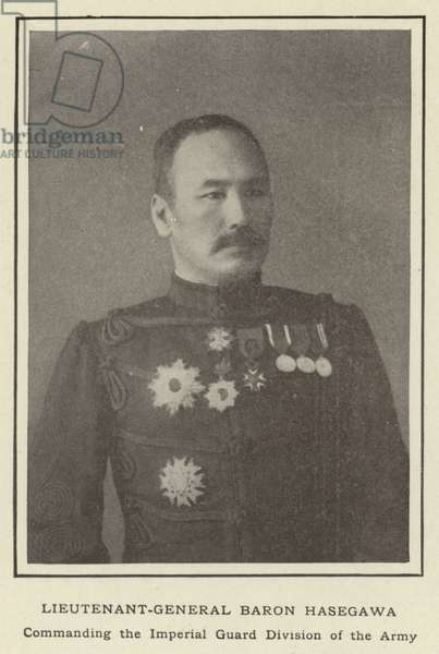 Lieutenant-General Baron Hasegawa, Commanding the Imperial Guard Division of the Army (b/w photo)