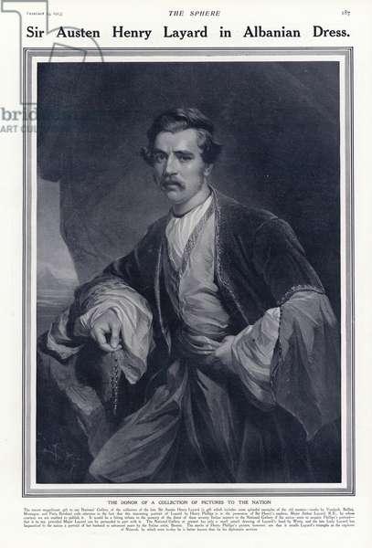 Sir Austen Henry Layard in Albanian dress (litho)