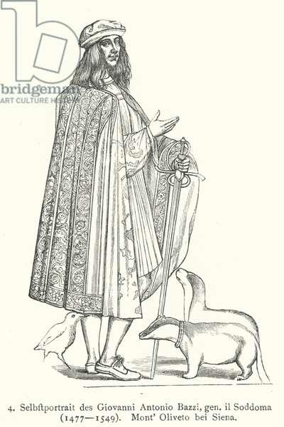 Self-portrait of Italian Renaissance artist Il Sodoma (Giovanni Antonio Bazzi) (engraving)