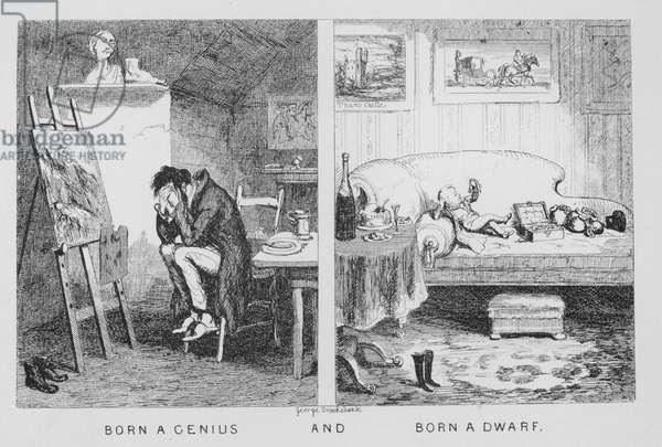 Born a Genius, and, Born a Dwarf (engraving)