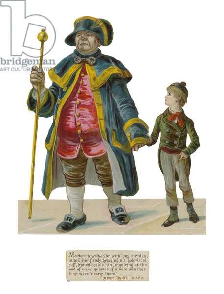 Mr Bumble and Oliver Twist (chromolitho)