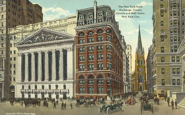 The New York Stock Exchange, Trinity Church and Waall Street, New York (colour photo)