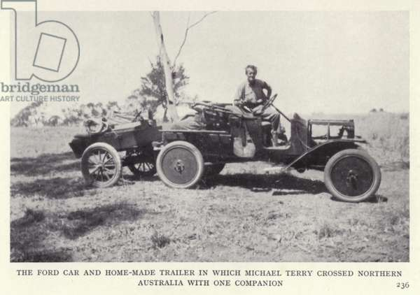 The Ford car and home-made trailer in which Michael Terry crossed Northern Australia with one companion (b/w photo)