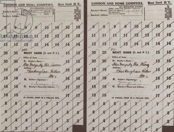 Meat ration cards issued to King George V and Queen Mary, World War I, 1918 (b/w photo)