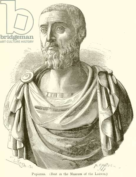 Pupienus. (Bust in the Museum of the Louvre) (engraving)