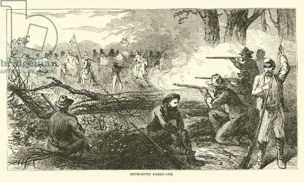 Impromptu barricade, July 1863 (engraving)