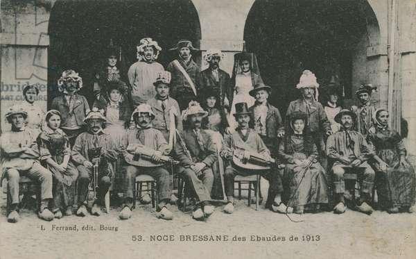 Wedding of Bressan Ebaudes in 1913. Postcard sent in 1913.