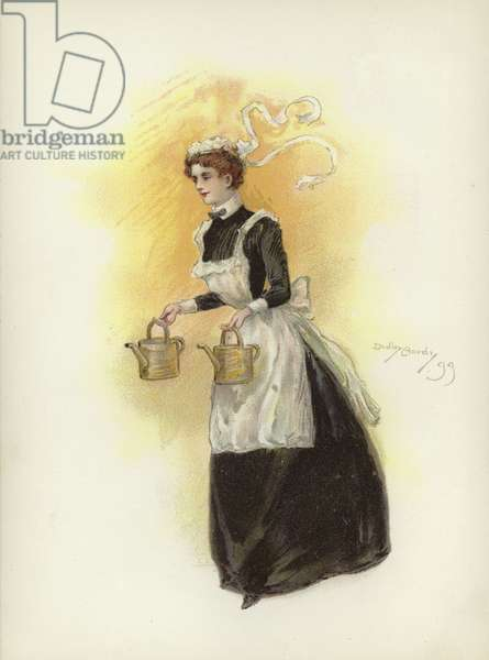 Hotel maid, carrying two water cans (colour litho)