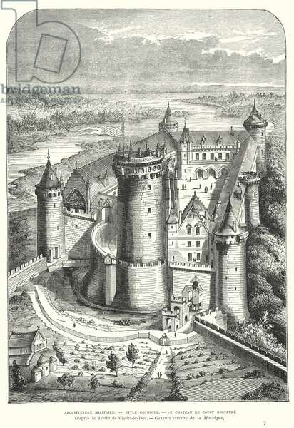 Chateau de Coucy, Picardy, France, after its restoration in the 19th Century by Eugene Viollet-le-Duc (engraving)