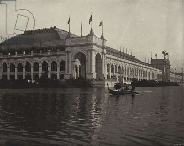Water-View of the Manufactures Building (b/w photo)
