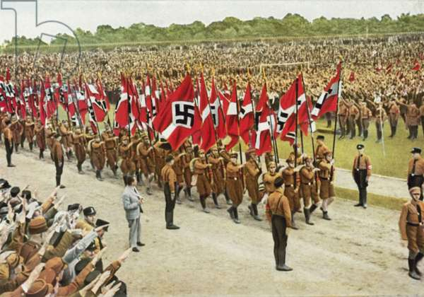 Members of the Nazi Hitler Youth marching on Reich Youth Day, Potsdam, Germany, 1932 (colour photo)
