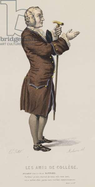 Les Amis De College, Act I, Sc XV (coloured engraving)