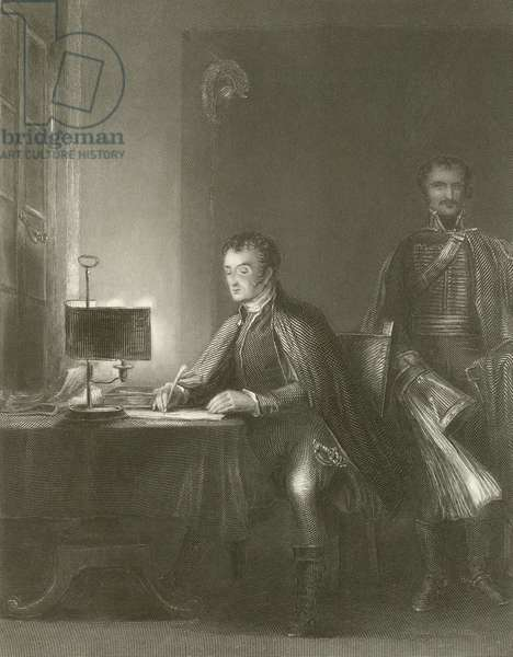 The Duke of Wellington Writing his Despatches (engraving)