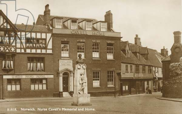 Nurse Cavell's Memorial and Home (b/w photo)