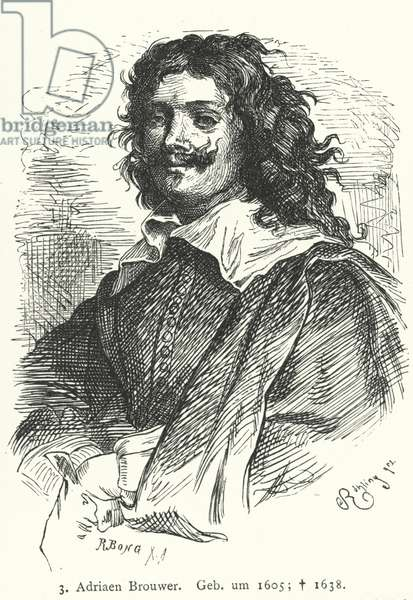 Adriaen Brouwer, Flemish Baroque painter (engraving)