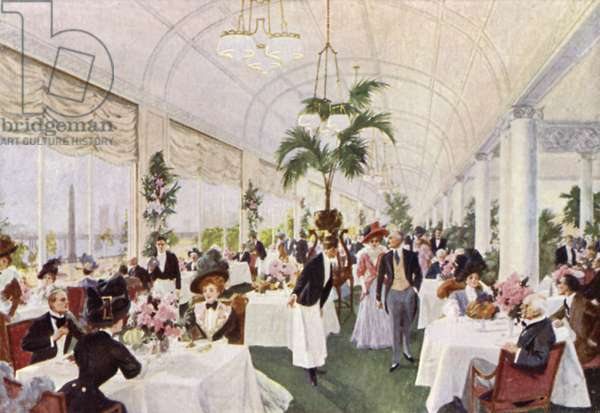 Savoy Hotel, The Terrace Restaurant, overlooking The Embankment (colour litho)