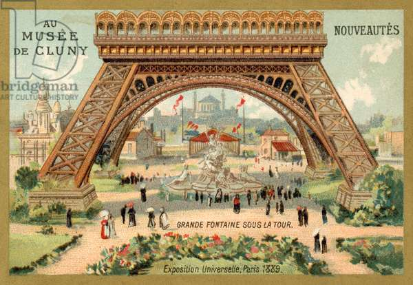 Grand fountain beneath the Eiffel Tower, Exposition Universelle, Paris, 1889 (chromolitho)