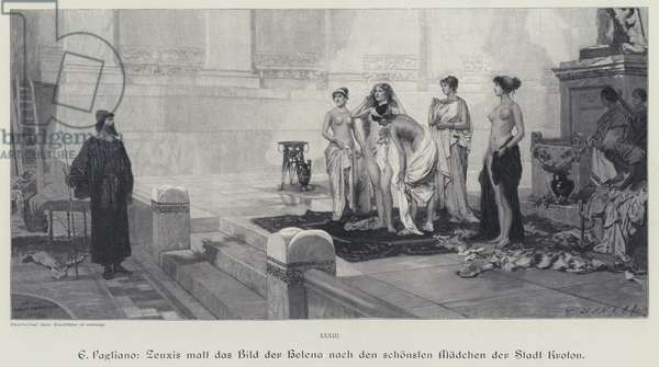 Ancient Greek artist Zeuxis choosing from the most beautiful women of the city of Crotone the model for his painting of Helen of Troy (engraving)