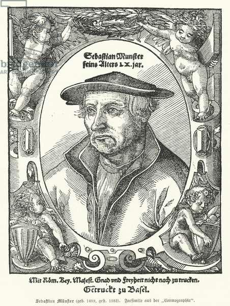 Sebastian Muenster, German cartographer, cosmographer and author of Cosmographia, the earliest work describing the world in German (engraving)