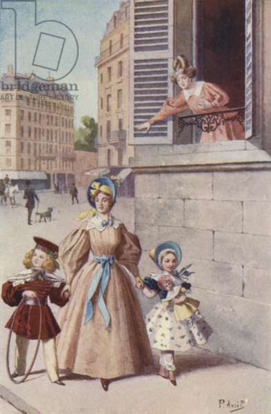 I saw her go into the Tuileries with two children (colour litho)
