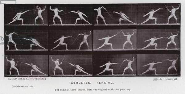 The Human Figure in Motion: Athletes, Fencing (b/w photo)