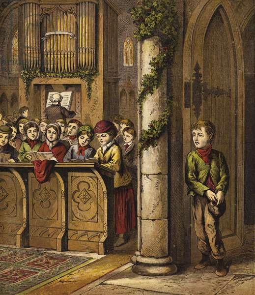 Singing carols in Church, with poor boy standing by door (chromolitho)