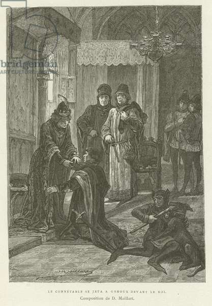 The Constable threw himself on his knees before the King (engraving)