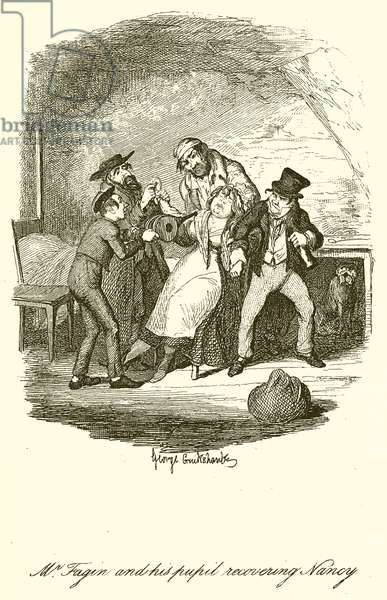 Mr. Fagin and his Pupil recovering Nancy (engraving)