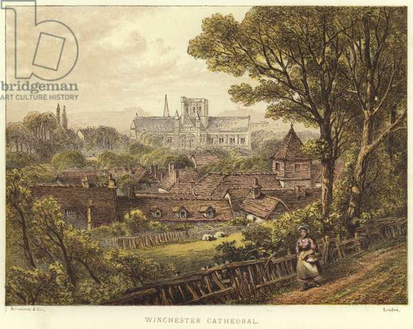 Winchester Cathedral in Winchester (colour litho)