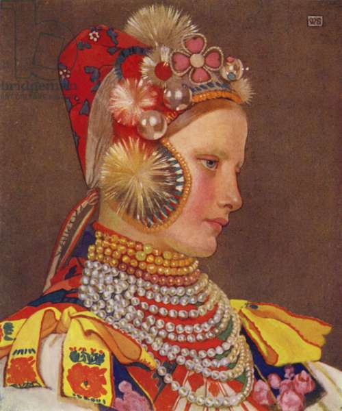 Czechoslovakia: A Slovak Girl in Sunday Attire (colour litho)