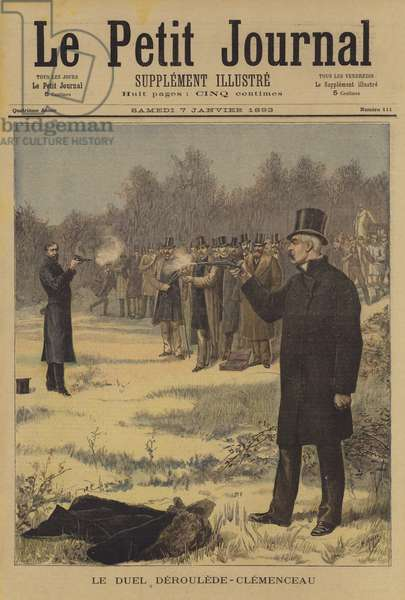 Duel between Paul Deroulede and Georges Clemenceau (colour litho)