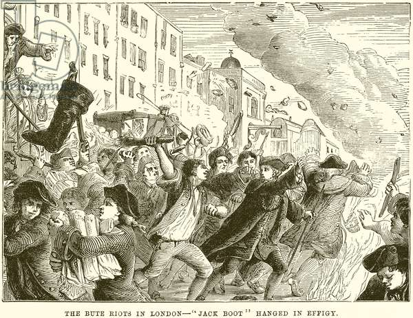 "The Bute Riots in London--""Jack Boot"" hanged in Effigy (engraving)"
