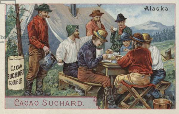 Drinking cocoa at camp, Alaska (chromolitho)