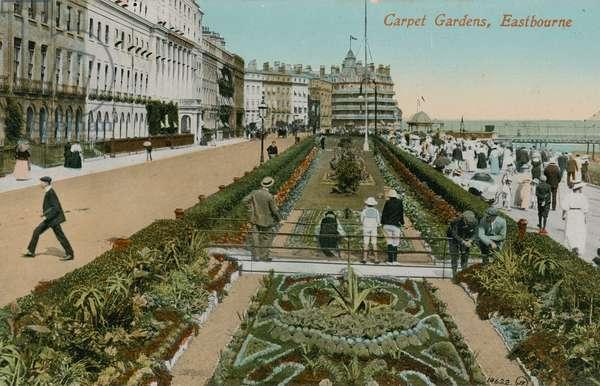 Carpet Gardens, Eastbourne, England. Postcard sent in 1913.