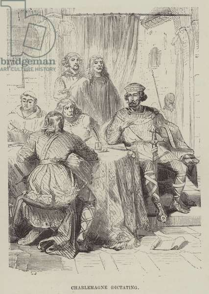 Charlemagne dictating (engraving)
