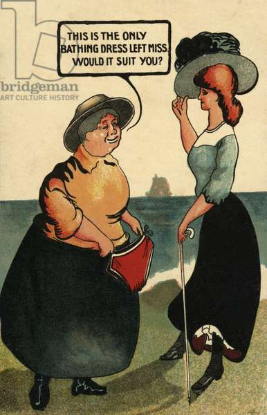 Two women with a bikini (colour litho)