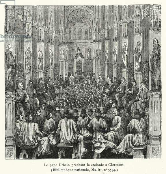 Le pape Urbain prechant la croisade a Clermont (engraving)