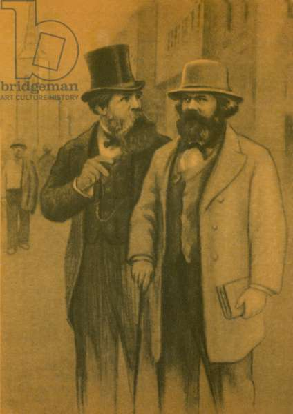 Karl Marx and Friedrich Engels, German Communist philosophers and economists (colour litho)