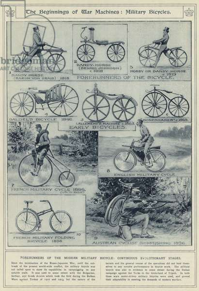 The beginnings of war machines, military bicycles, forerunners of the modern military bicycle, continuous evolutionary stages (litho)
