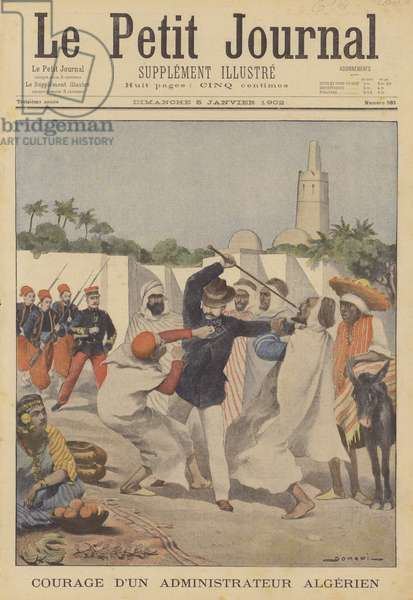 Bravery of French administrator in Algeria (colour litho)