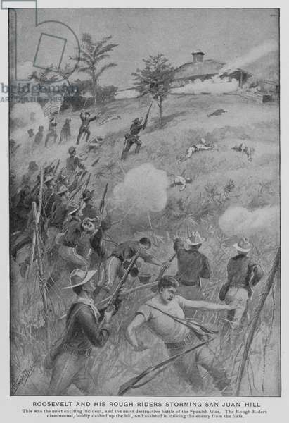 Roosevelt and his Rough Riders storming San Juan Hill (litho)