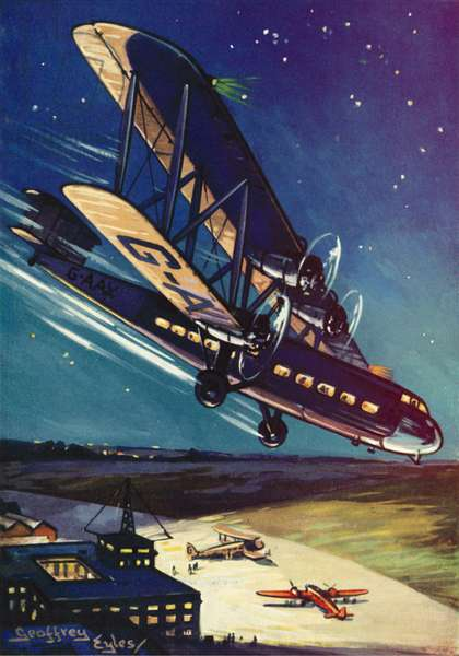 Handley-Page HP 45 aircraft of Imperial Airways carrying the night mail arriving at Croydon Airport, London (colour litho)