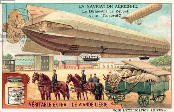 Zeppelin and Parseval airships (chromolitho)