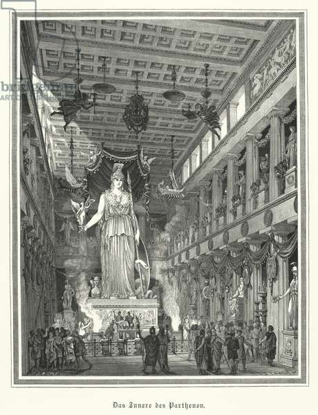 Interior of the Parthenon, Athens, with the colossal statue of the Greek goddess Athena (engraving)