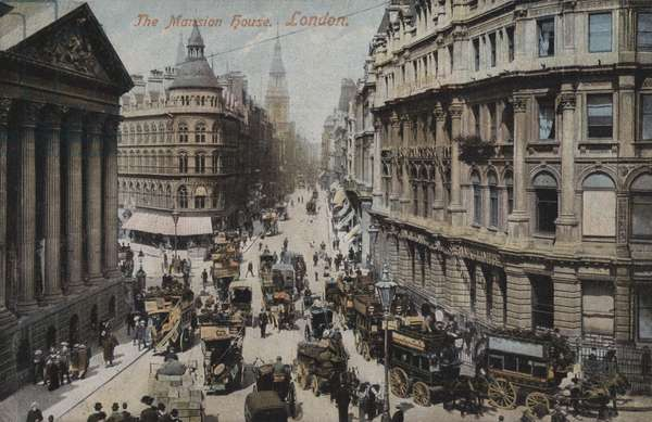 The Mansion House, London (coloured photo)